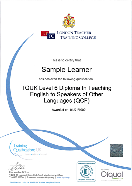 tefl certificate template - ofqual regulated diploma in tesol